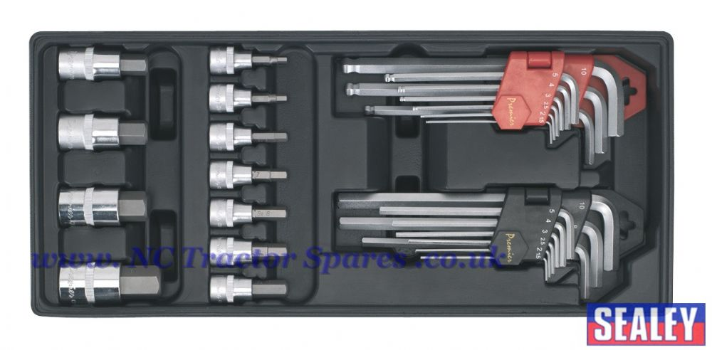 Tool Tray with Hex/Ball-End Hex Keys & Socket Bit Set 29pc
